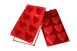 Silikomart 8 Cup Heart Cupcake Pan with Safe Ring
