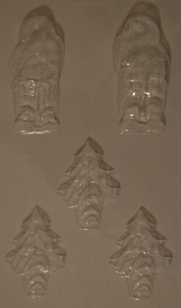 Santa Chocolate Mould with 3 Chocolate Christmas Tree Moulds