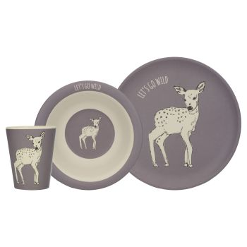 Creative Tops Into The Wild Deer 3pc Kids Bamboo Dinner Set
