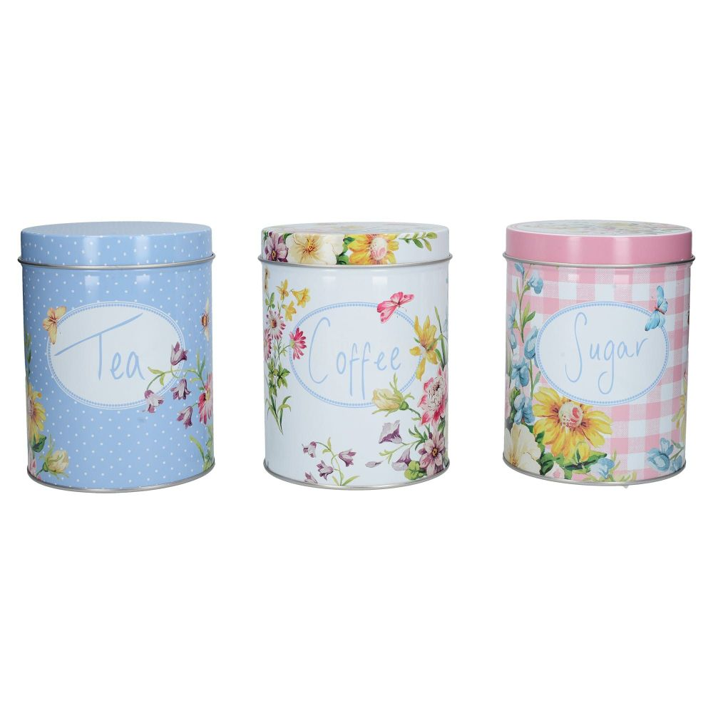 Katie Alice English Garden Tea, Coffee And Sugar Set of 3 Tins
