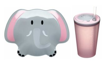Let's Make Ellie Elephant Melamine Plate and Sipper Cup Set