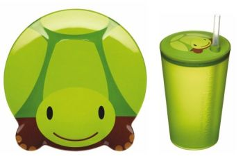 Let's Make Toby Turtle Melamine Plate and Sipper Cup Set