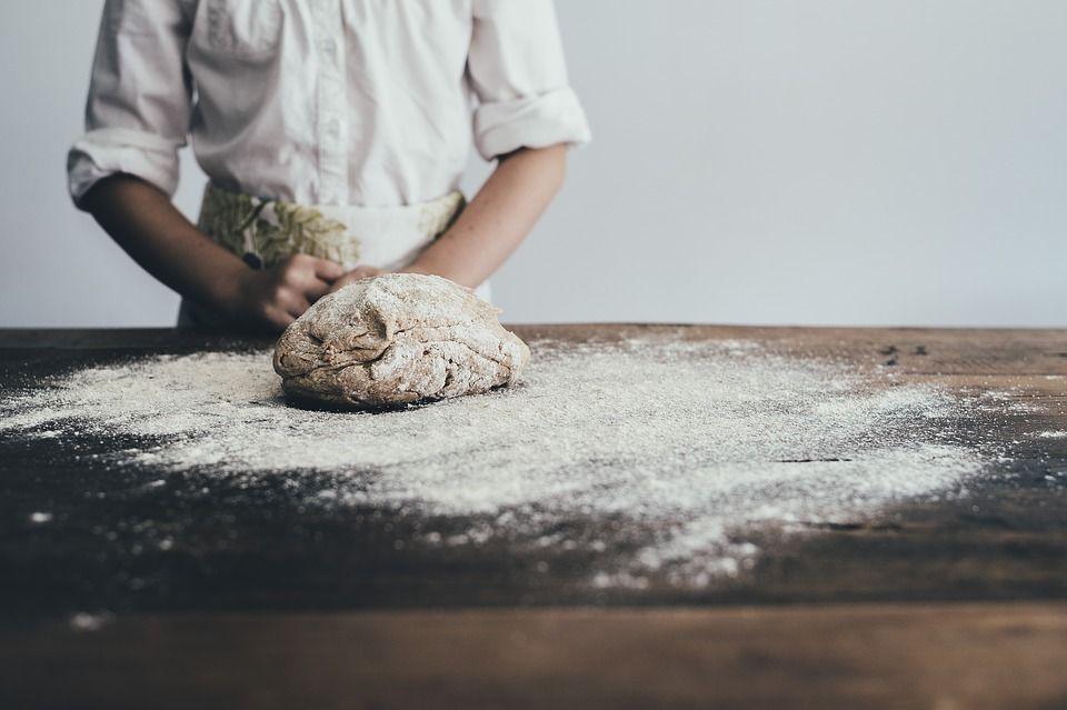 Baker making bread