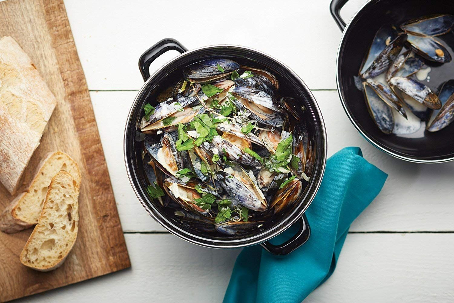 Mussels boiling in a pan