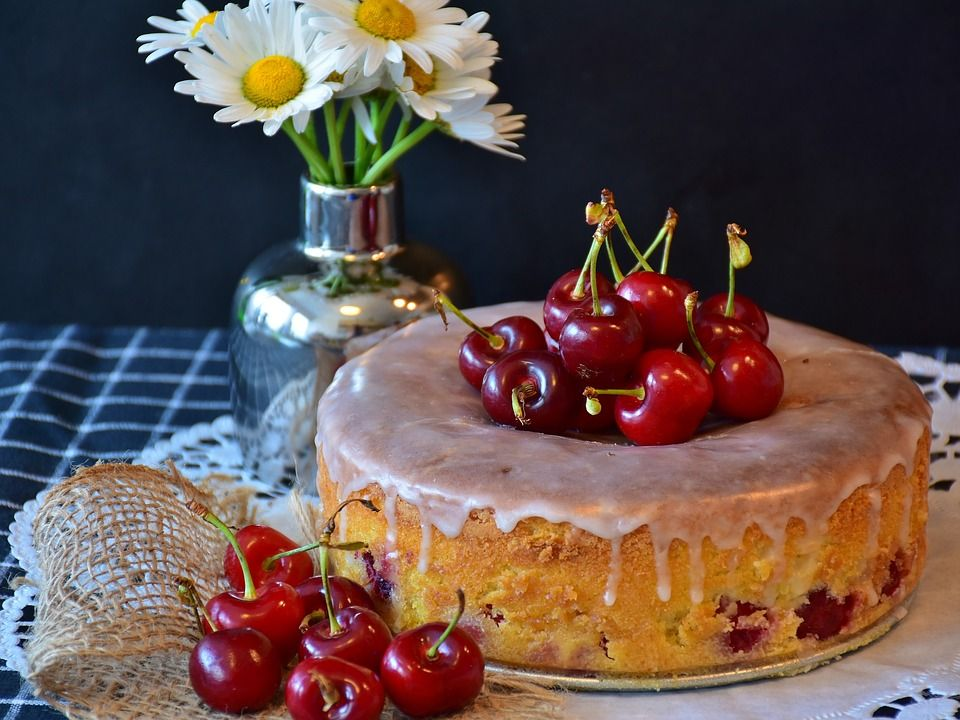 Cherry topped cake