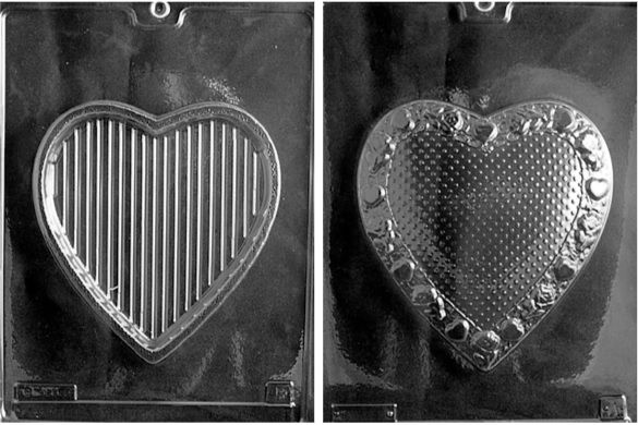 Large Fancy Heart Pour Box - Lid and Base