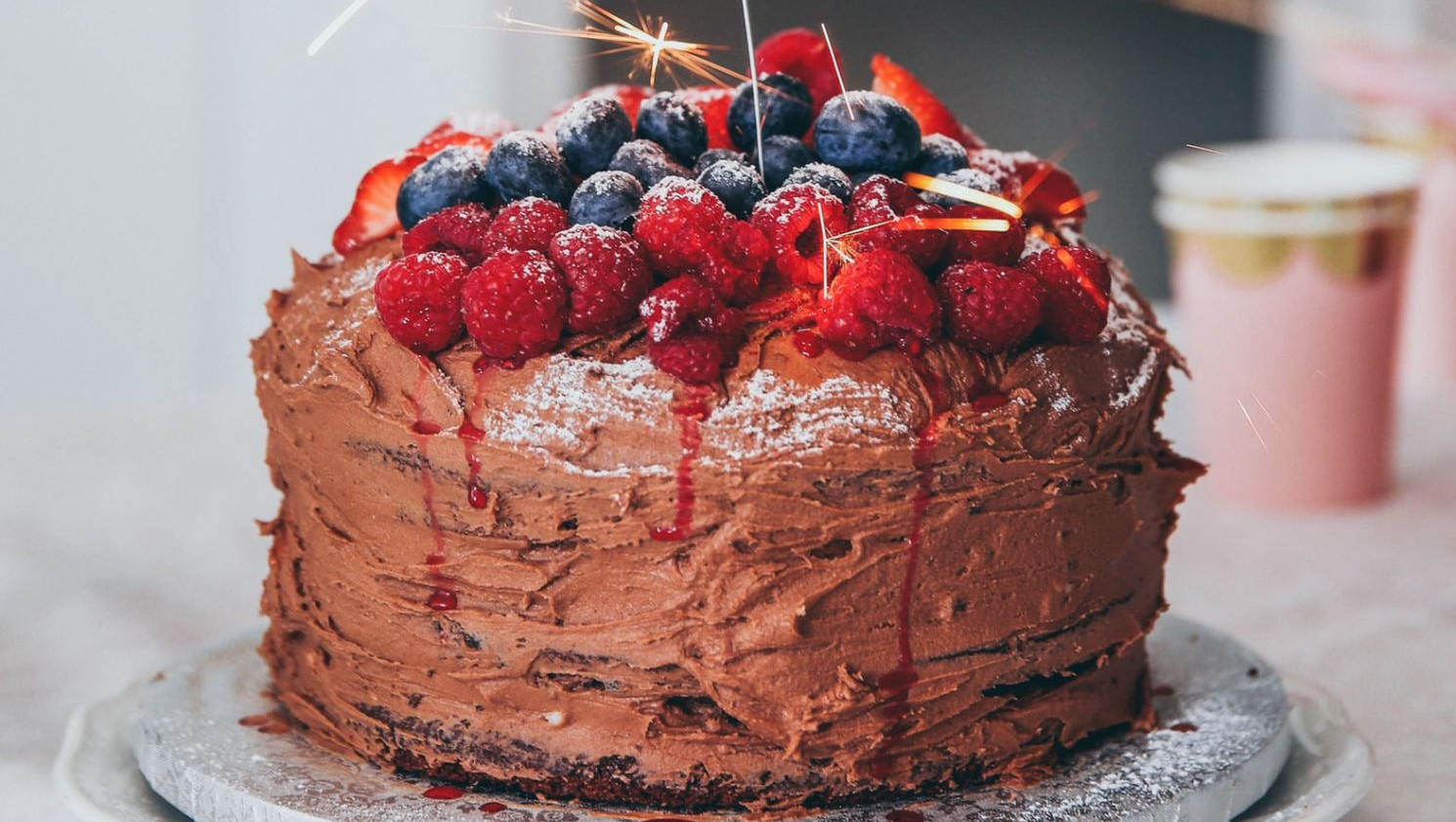 Fruit Topped Chocolate Cake