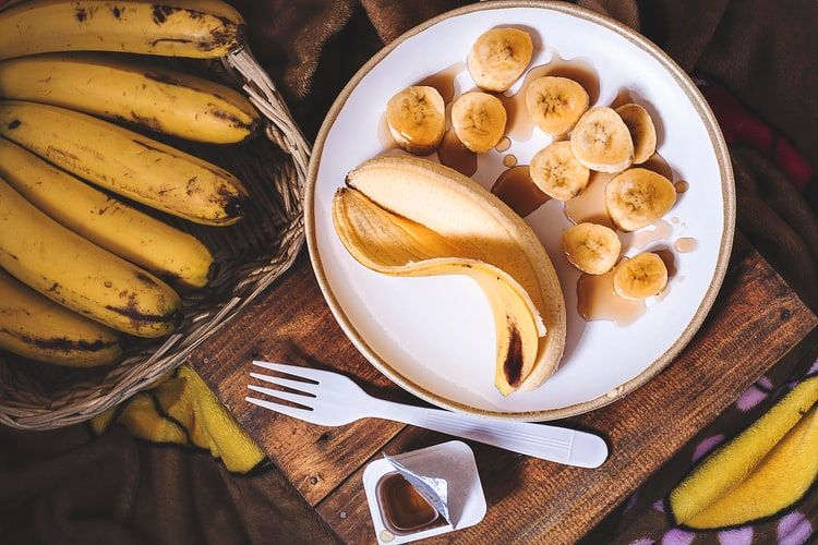 Peeled and chopped bananas