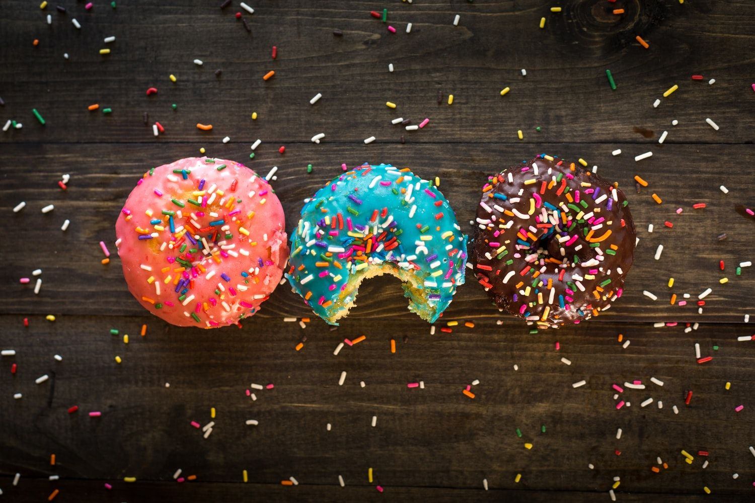 Iced and sprinkled doughnuts