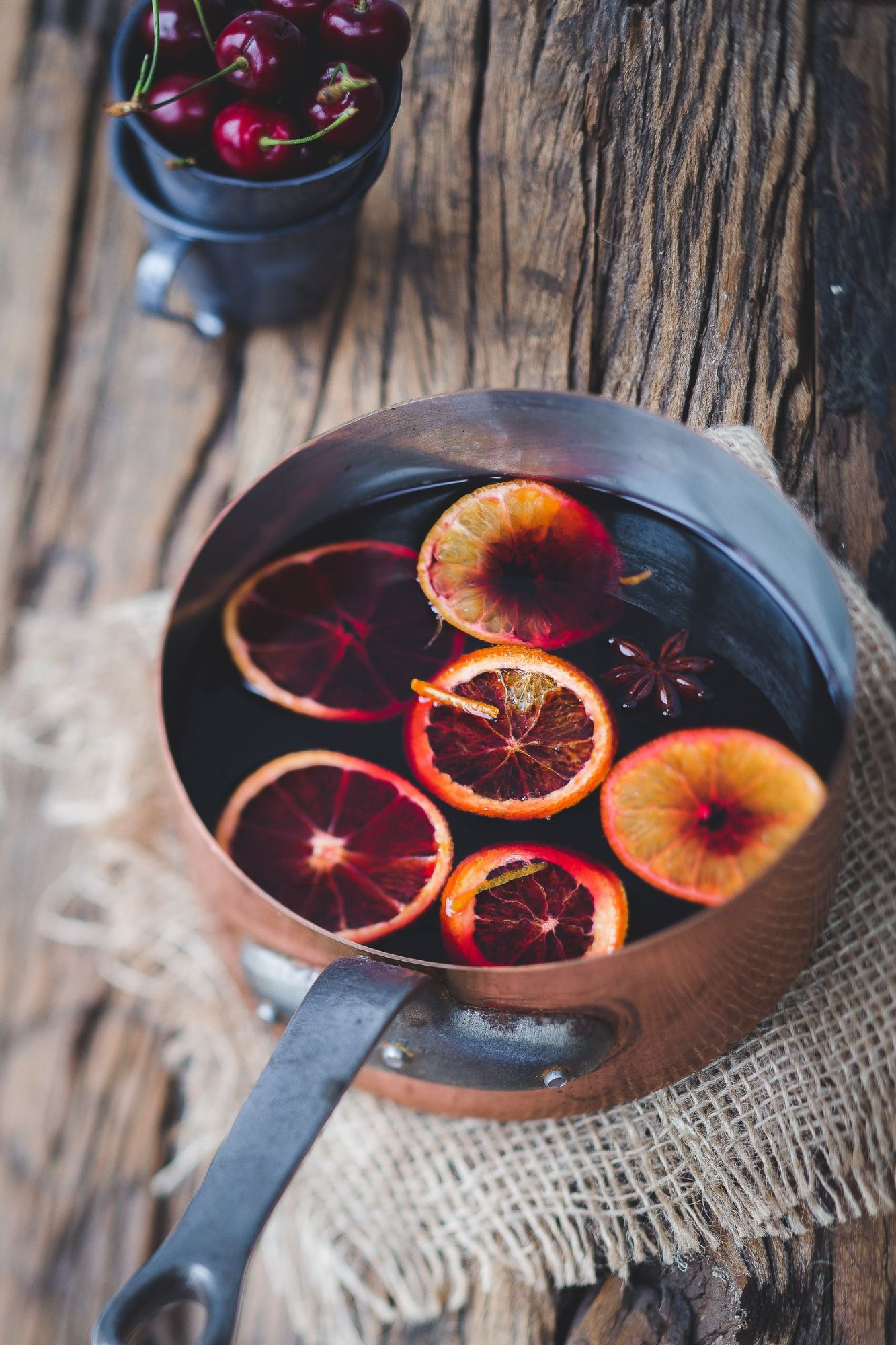 Mulled wine in a pan