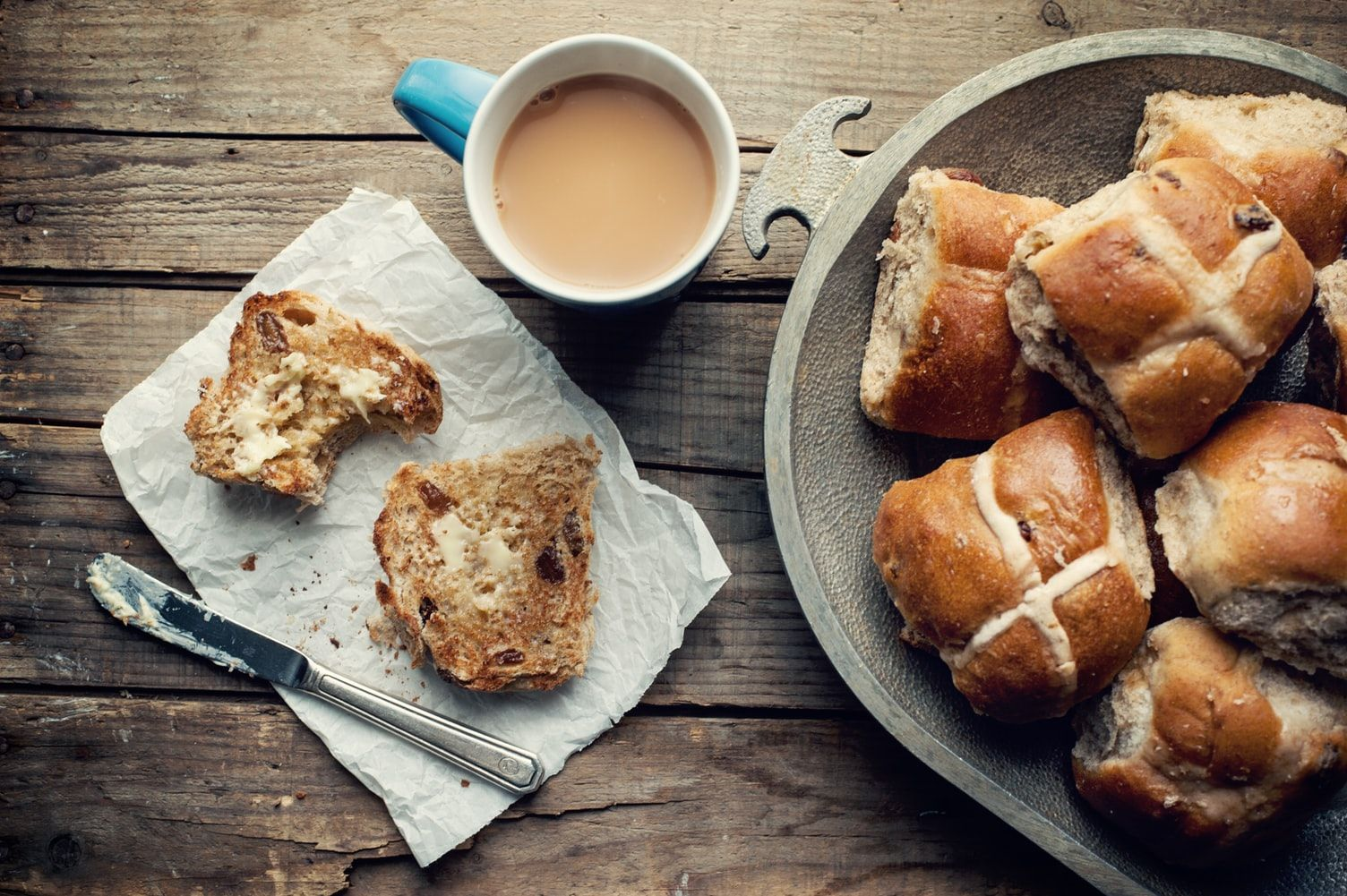 Hot cross buns and cup of tea