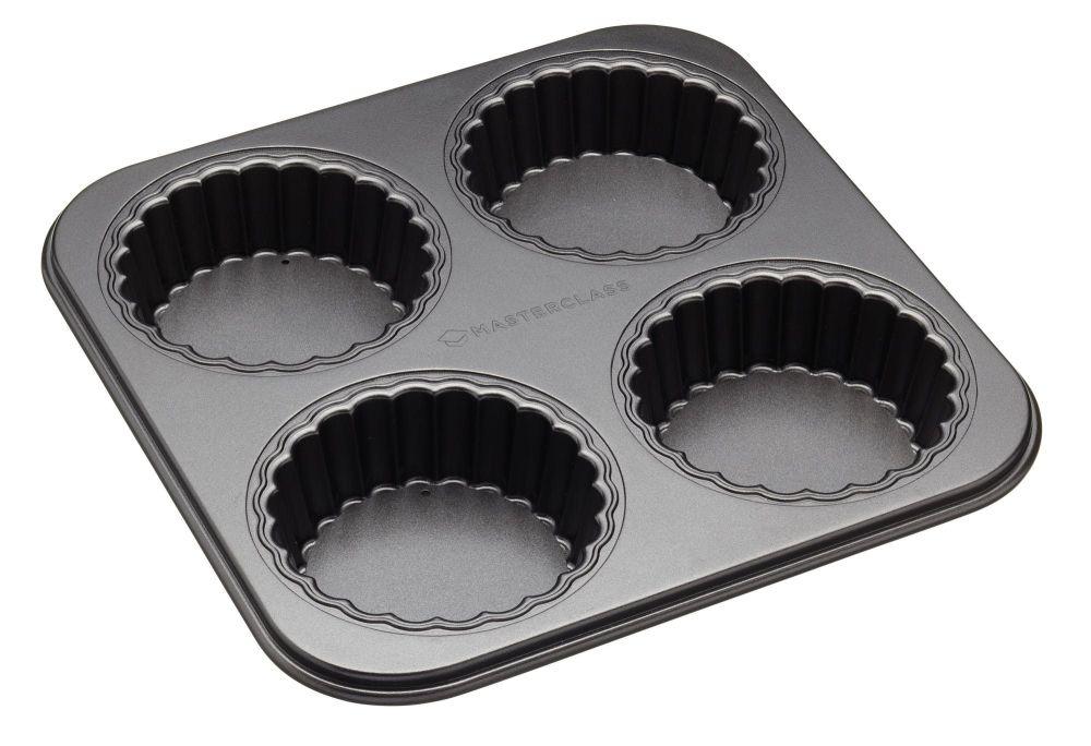 MasterClass Non-Stick Four Hole Loose Base Fluted Mini Tartlet Pan