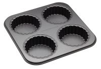 MasterClass Non-Stick Four Hole Loose Base Fluted Mini Tartlet Pan