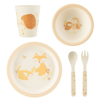 Sass & Belle Woodland Animals 5 Piece Bamboo Dinner Set