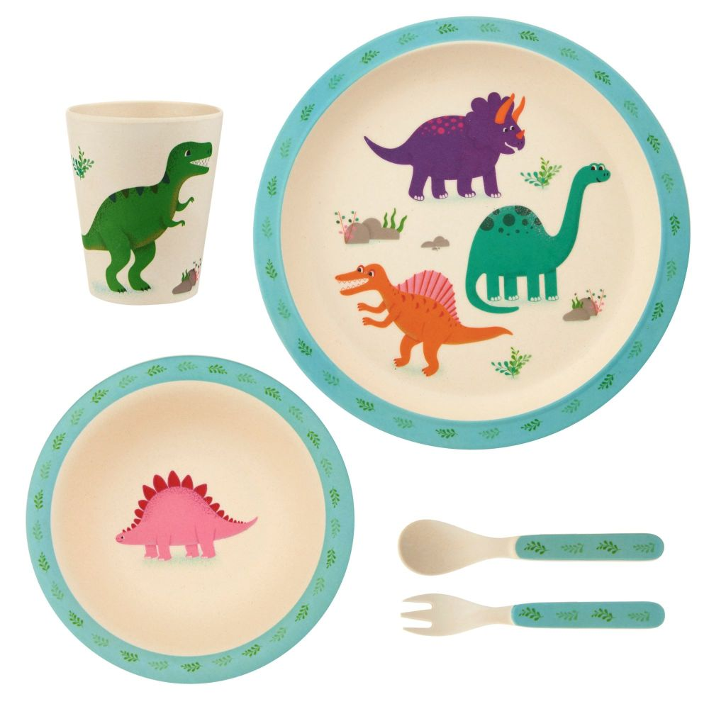 Roarsome Dinosaurs 5 Piece Bamboo Dinner Set