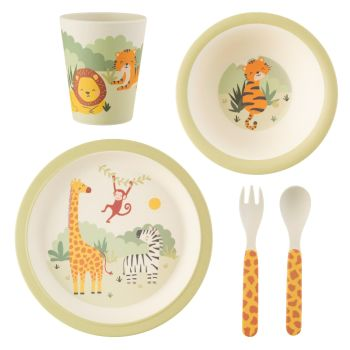 Sass & Belle Savannah Safari Animals 5 Piece Dinner Set