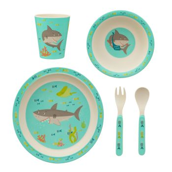Sass & Belle Shelby the Shark 5 Piece Bamboo Dinner Set