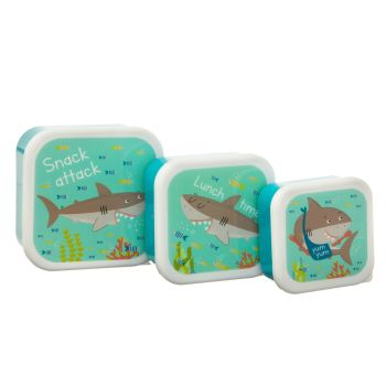 Sass & Belle Shelby the Shark Set of 3 Lunch Boxes