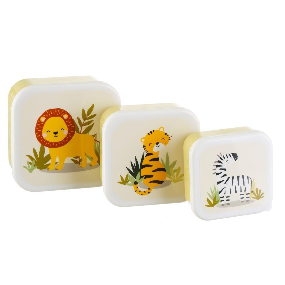 Savannah Safari Animals Set of 3 Lunch Boxes