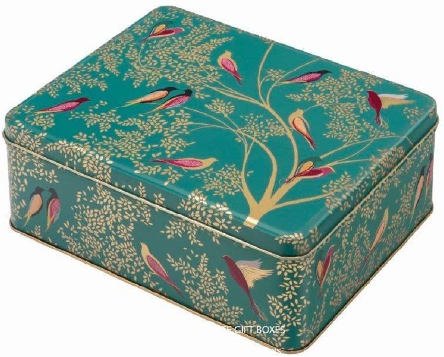 Sara Miller Green Bird Rectangular Storage Tin