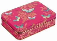 Sara Miller Pink Butterfly Small Rectangular Storage Tin