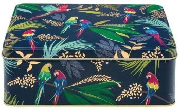 Sara Miller Parrot Rectangular Storage Tin