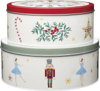 KitchenCraft The Nutcracker Collection Christmas Cake Storage Tins