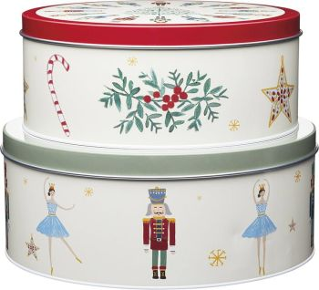KitchenCraft The Nutcracker Collection Christmas Cake Storage Tins