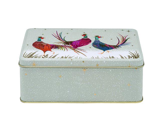 Sara Miller Christmas Grey Pheasant Storage Tin