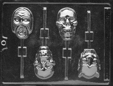 Skulls on Sticks Lollipop Halloween Chocolate Mould