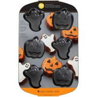 Wilton 6 Cavity Non Stick Halloween Ghost and Pumpkin / Jack O Lantern Mini Cake Pan