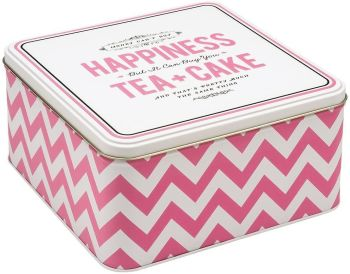 Alice Scott Happiness is Tea and Cake Square Storage Tin