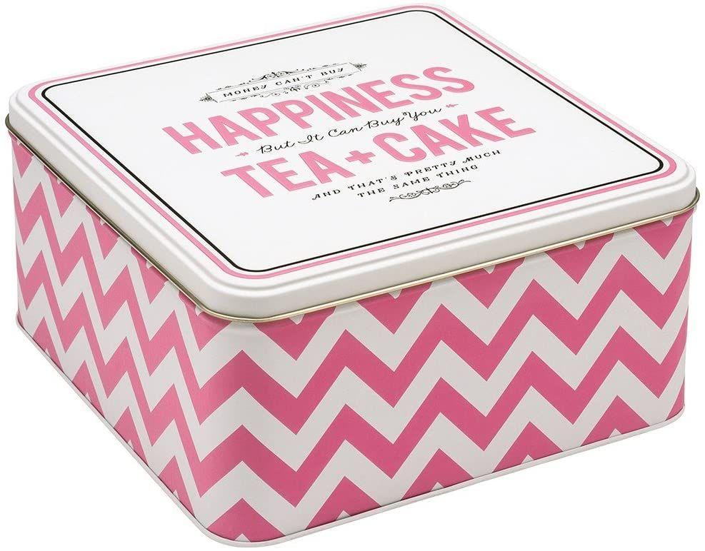 Alice Scott Happiness is Tea and Cake Square Storage Tin