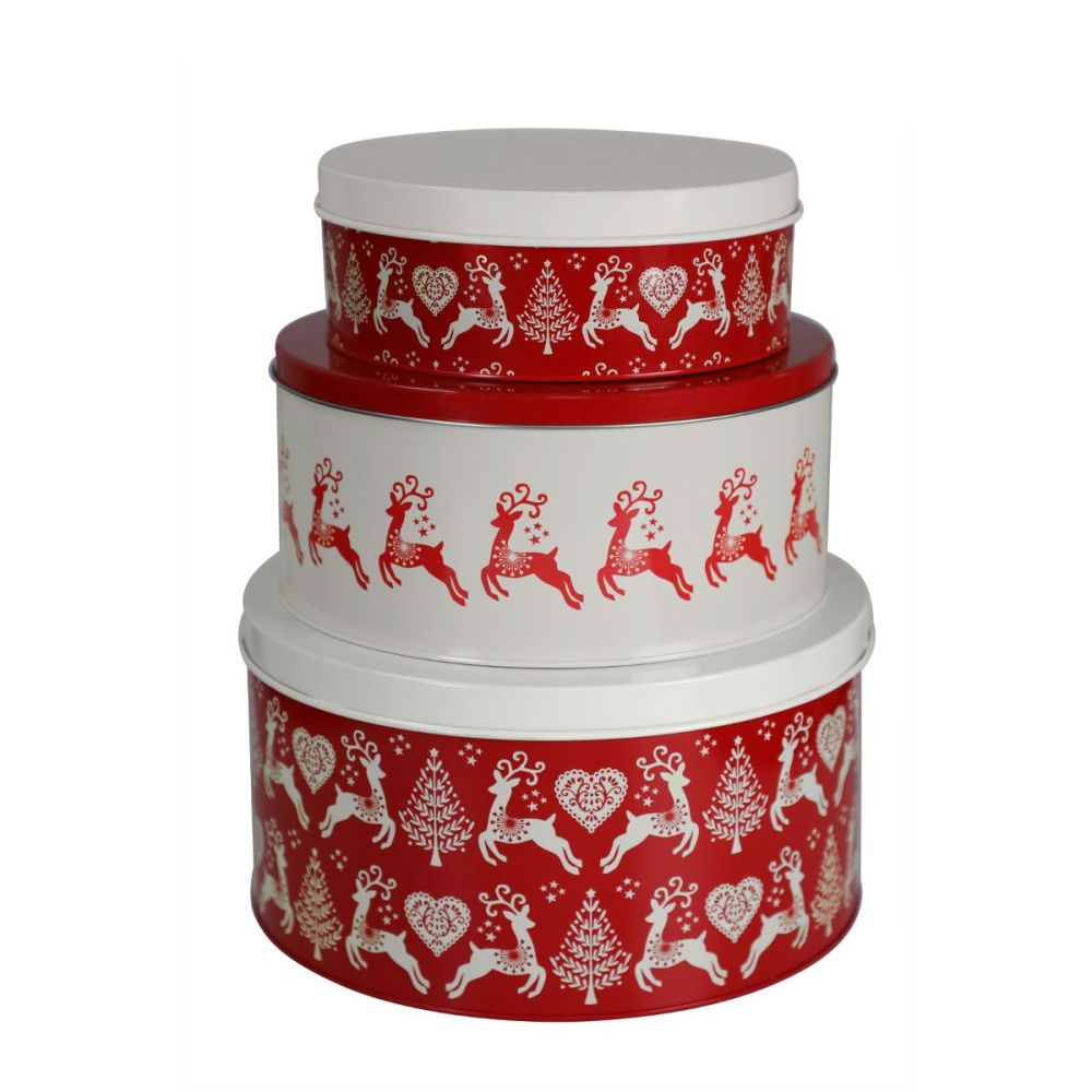 Yuletide Set of 3 Nesting Christmas Cake Storage Tins
