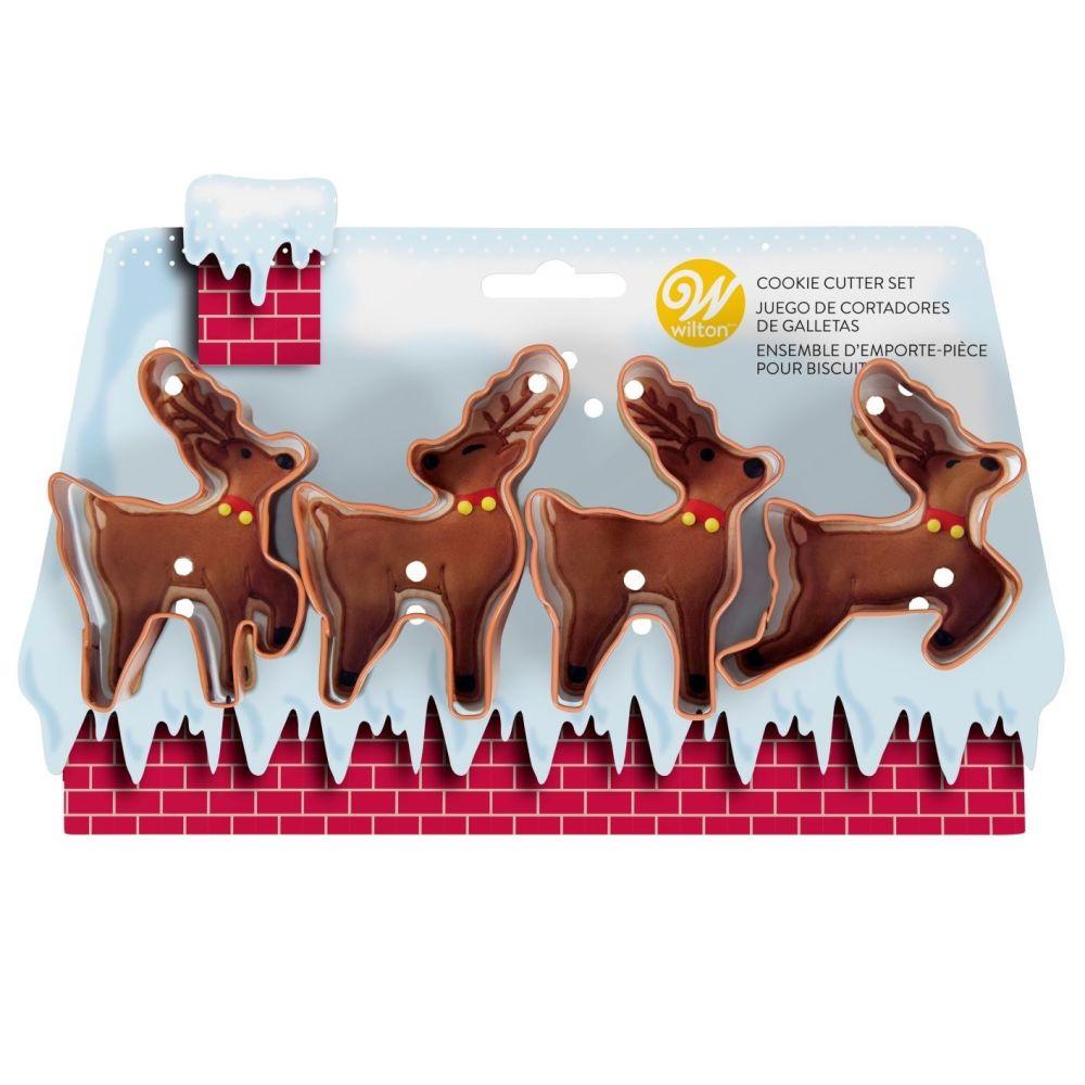Wilton Set of 4 Metal Reindeer Cookie Cutters