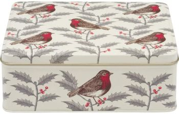 Thornback & Peel Holly and Robin Rectangular Storage Tin