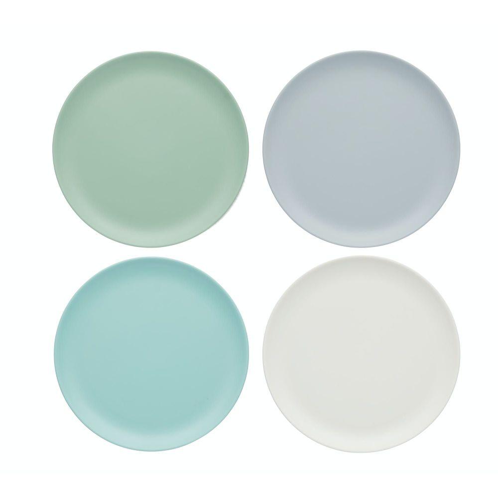 KitchenCraft Colourworks Classics Set of 4 Salad/ Snack Melamine Plates