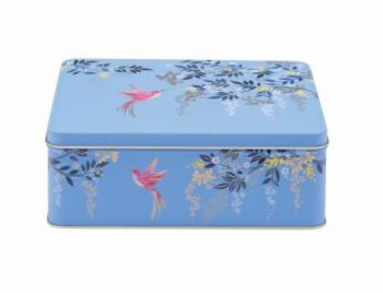 Sara Miller Chelsea Blue Bird Rectangular Storage Tin