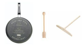 KitchenCraft Pancake Making Set Non Stick Pan, Honey Dipper and Spreader