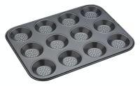 KitchenCraft MasterClass Crusty Bake Non-Stick 12 Hole Shallow Baking Pan