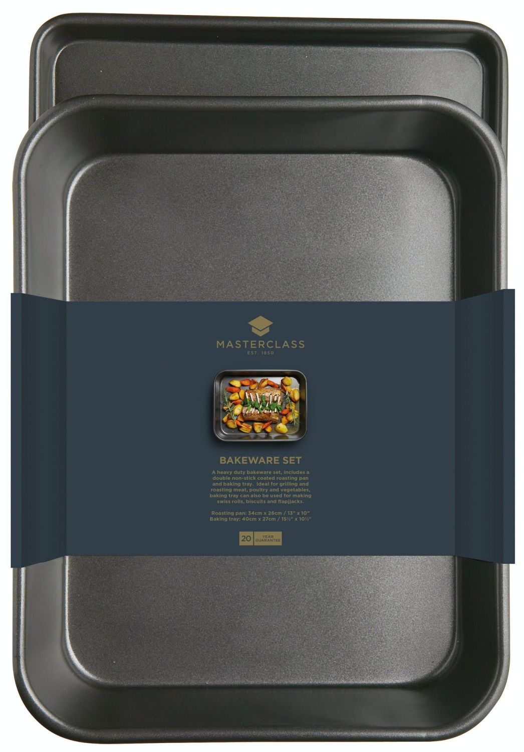 KitchenCraft MasterClass Twin Pack - Non-Stick Roasting Pan and Oven Tray