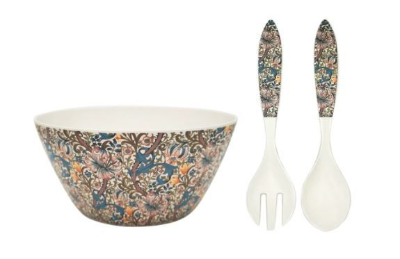 William Morris Golden Lilly Bamboo Salad Bowl and Server Set