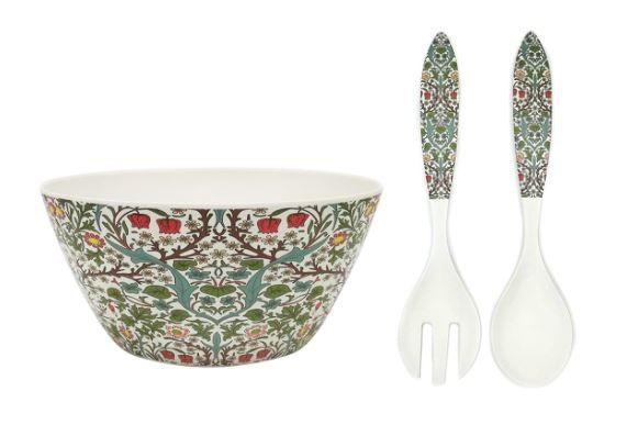 William Morris Blackthorn Bamboo Salad Bowl and Server Set