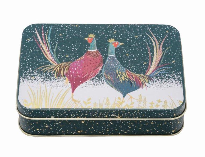 Sara Miller Christmas Pheasant Small Rectangular Storage Tin