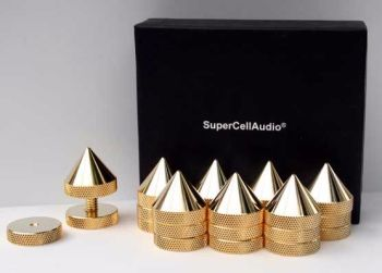 Sound Isolation Cones/Spikes set of 8, gold plated. #FSB-2-G-1420-8