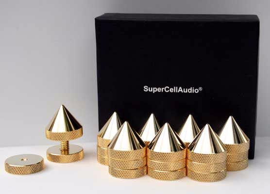 Gold Plated Sound Isolation Cones/Spikes set of 8. Multiple installation op