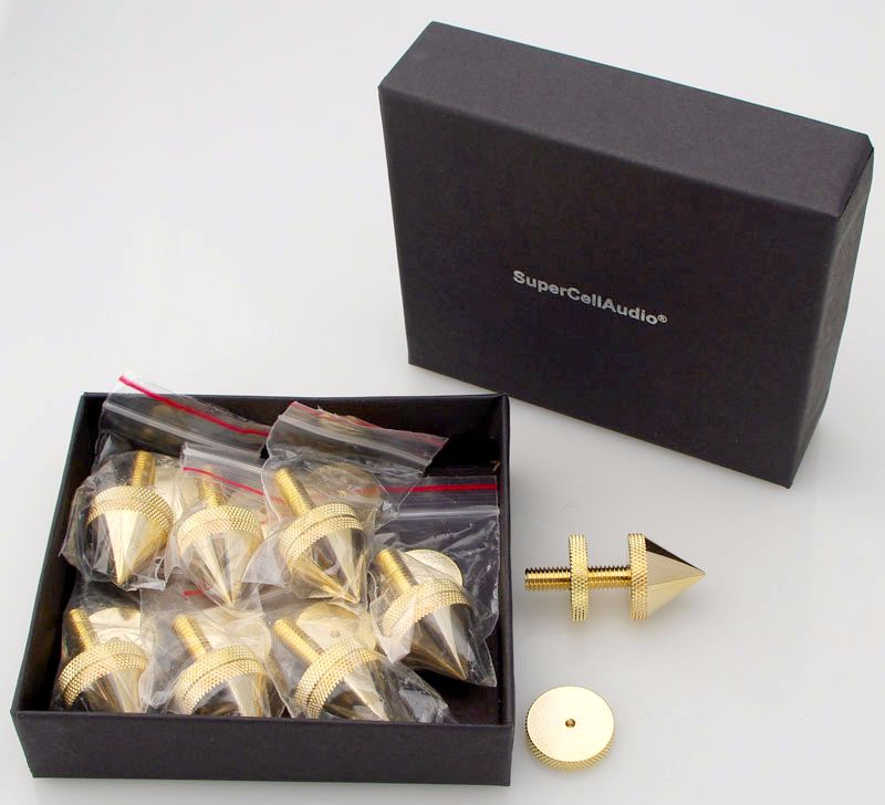 Metric M-6 Isolation Cones / Floor Spikes set of 8, gold plated.