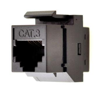 Keystone Jack Data Cat3 #KM-Cat3-FF-Black