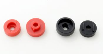 Insulators for binding posts. 1 pair (1 red, 1 black) # BP-INS-AM-PR