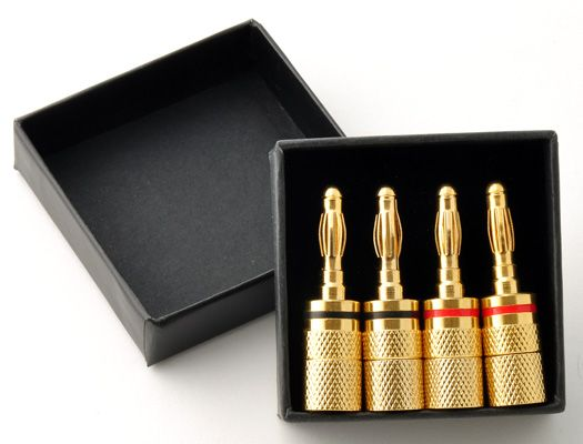 Banana Plugs set of 4, gold plated, twist-on.